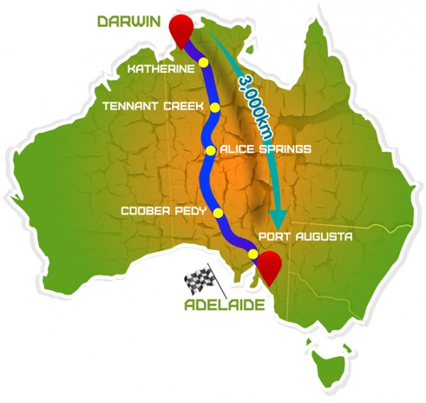 World Solar Challenge Map – Source ( http://www.worldsolarchallenge ...